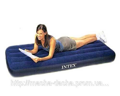 Односпальный надувной матрас Intex 68950, размер 193х76х22 см, без встроенного насоса