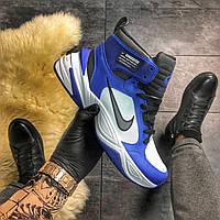 Мужские кожаные кроссовки с термо утеплителем Nike M2K Tekno MID Blue White синие с белым