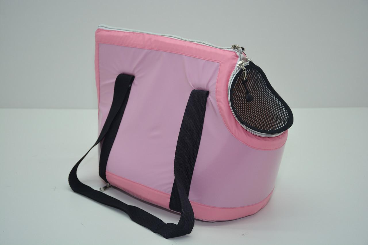 Сумка-переноска для котов и собак Диско розовая мини 210х300х230