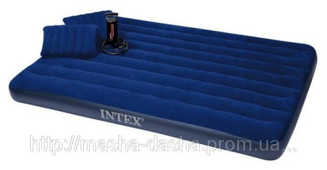 Двуспальный надувной матрас Intex 68765, размер 152х203х22 см, с ручным насосом и двумя подушками, фото 2