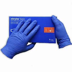 Перчатки синие Nitrylex basic нитриловые неопудренные L RD30177004