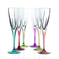 Набор цветных бокалов для шампанского RCR 690019 6 шт. 170 мл. FUSION COLOUR