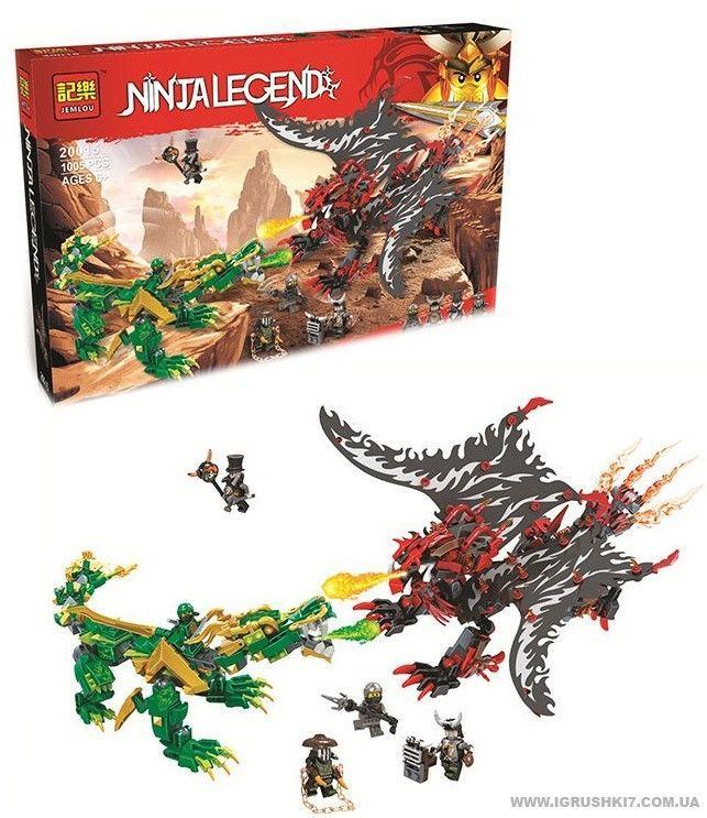Конструктор Jemlou Ninja Legend 20015 Битва драконов 1005 деталей