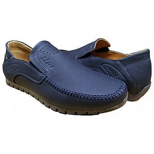 Летние мужские мокасины кожаные перфорация  39-45 синий