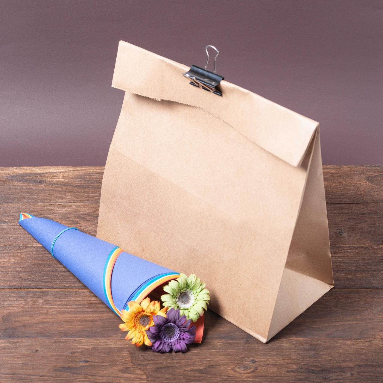 Бумажный крафт пакет с дном 320*150*430 бурый