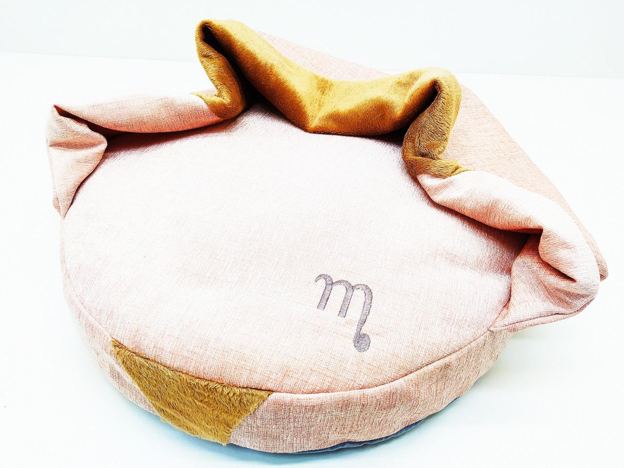 Лежак пуф с одеялом для собак и котов Мистик круглый коричневый