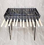 Мангал розкладний у валізу 3 мм 12 шампурів з дерев'яними ручками в комплекті, фото 2
