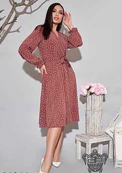 / Размер 48-50,52-54 / Женское легкое платье с запахом 34614 / цвет коричневый