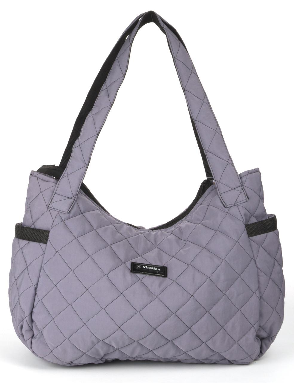 Жіноча спортивна стьобана сумка з накладними кишенями art.245