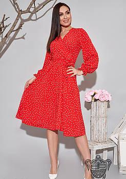/ Размер 48-50,52-54 / Женское легкое платье с запахом 34613 / цвет красный