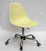 Офісний пластиковий стілець на коліщатках регульований Nik Office, жовтий 15