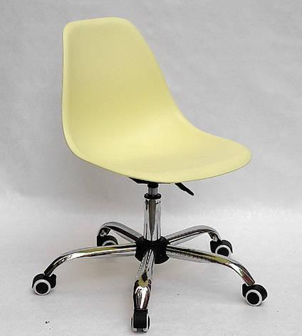 Офисный пластиковый стул на колесиках регулируемый   Nik Office, желтый 15, фото 2