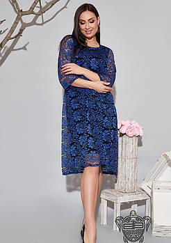 / Размер 50-52,54-56,58-60 / Женское просторное платье с гипюром 34590 / цвет электрик