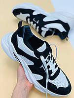 Мужские кроссовки из натуральной кожи с перфорацией черные с белым
