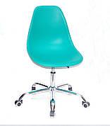 Офисный пластиковый стул на колесиках регулируемый  Nik Office, зеленый 42