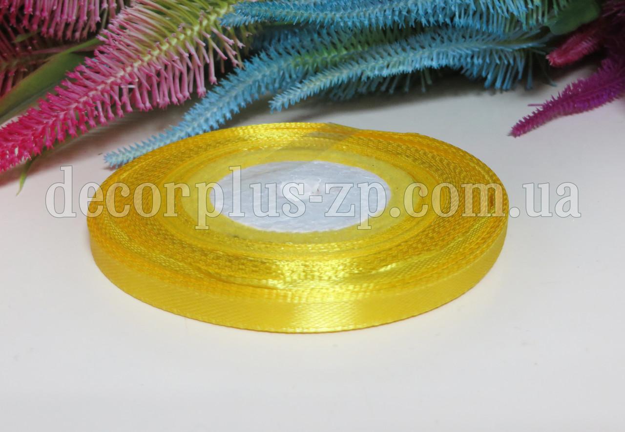 Лента атласная 0,6см (36 ярдов), желтая