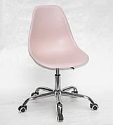 Офисный пластиковый стул на колесиках регулируемый Nik Office, розовый 63