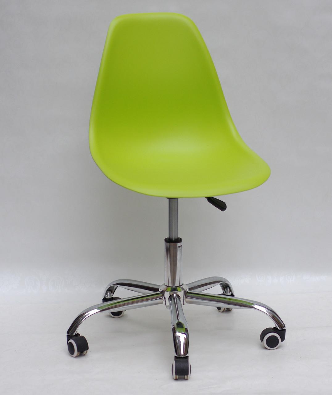 Офисный пластиковый стул на колесиках регулируемый  Nik Office, зеленый 48