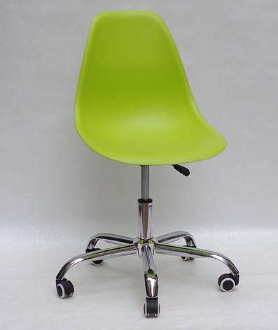 Офисный пластиковый стул на колесиках регулируемый  Nik Office, зеленый 48, фото 2