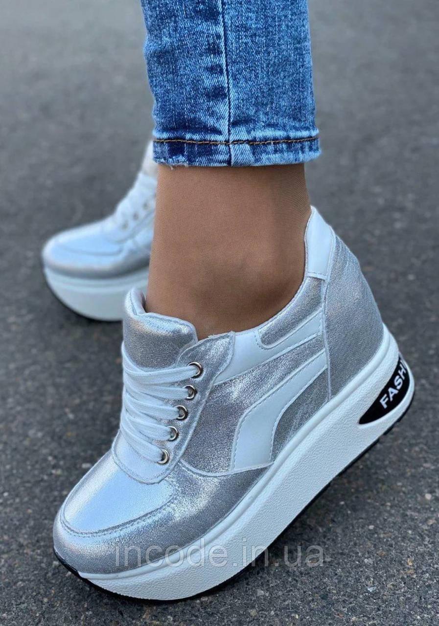 Серые классные женские кроссовки 39