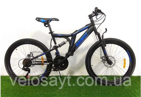 """Горный велосипед 26 дюймов Azimut Blackmount 26"""" BLACK-BLUE"""