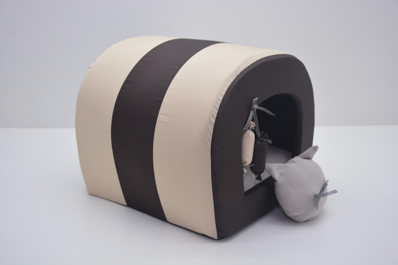 Будка туннель для собак и котов Комфорт лето коричневая Собаки, №0 250х300х255