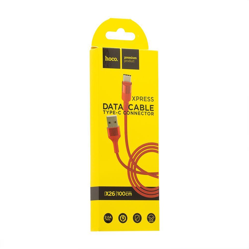 USB кабель Hoco X26 Xpress Charging Type-C (1м, красный)