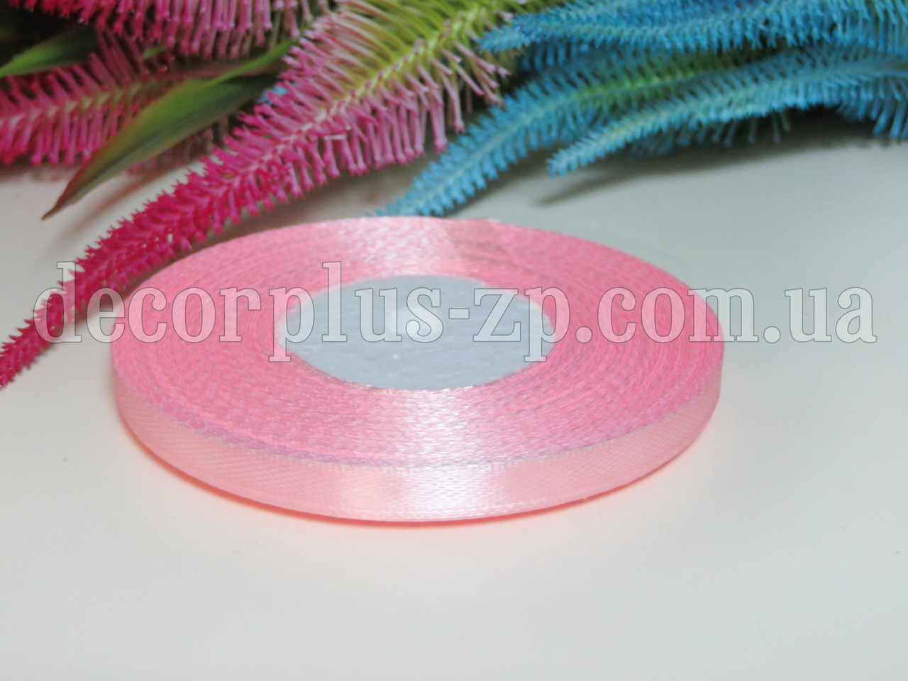 Лента атласная 0,6см (36 ярдов), бледно-розовая