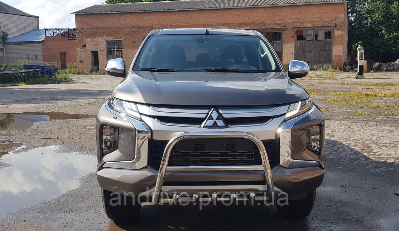 Кенгурятник с грилем (защита переднего бампера) Mitsubishi L-200 2018+