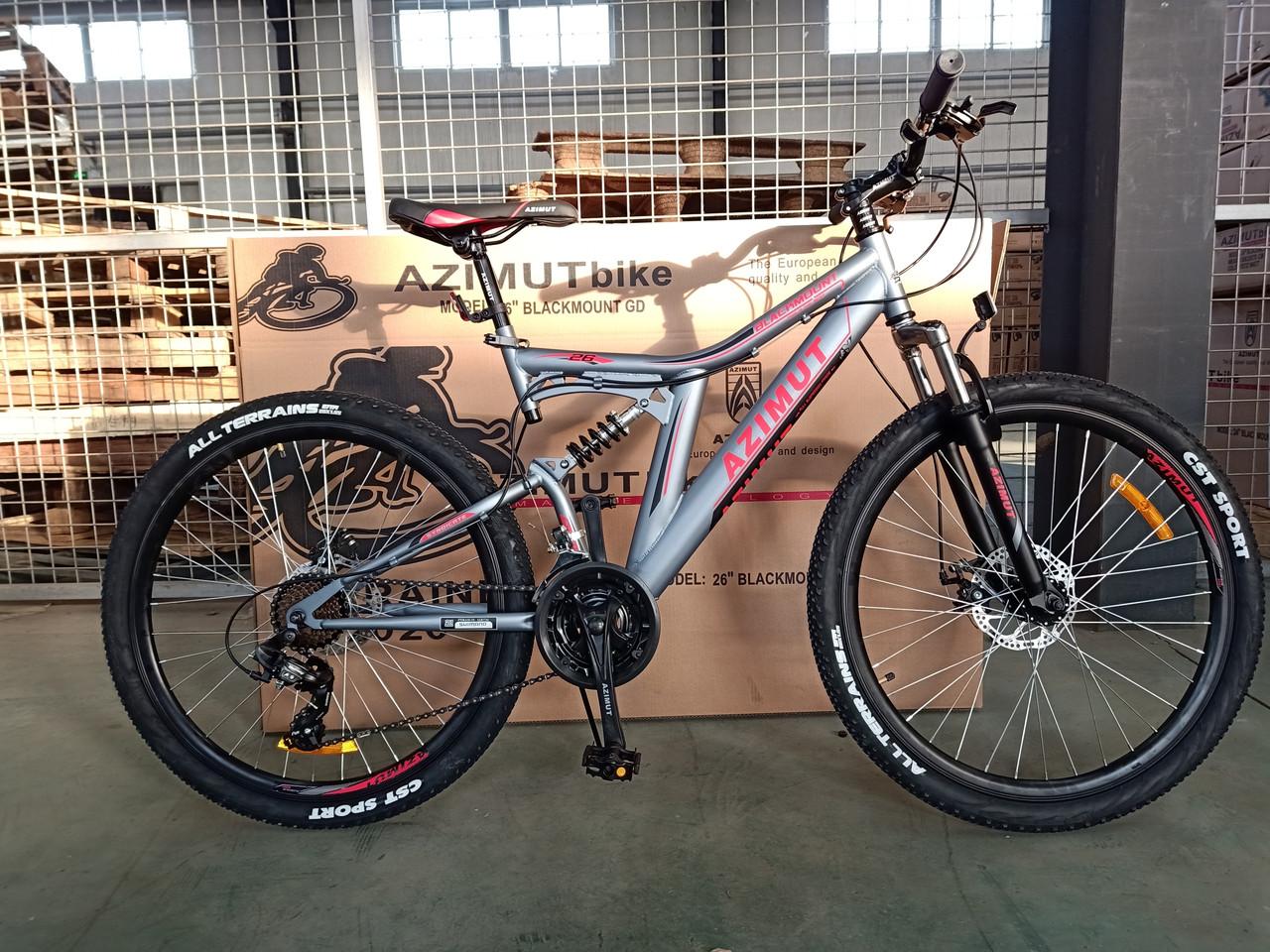 """Горный велосипед 26 дюймов Azimut Blackmount 26"""" GREY RED"""