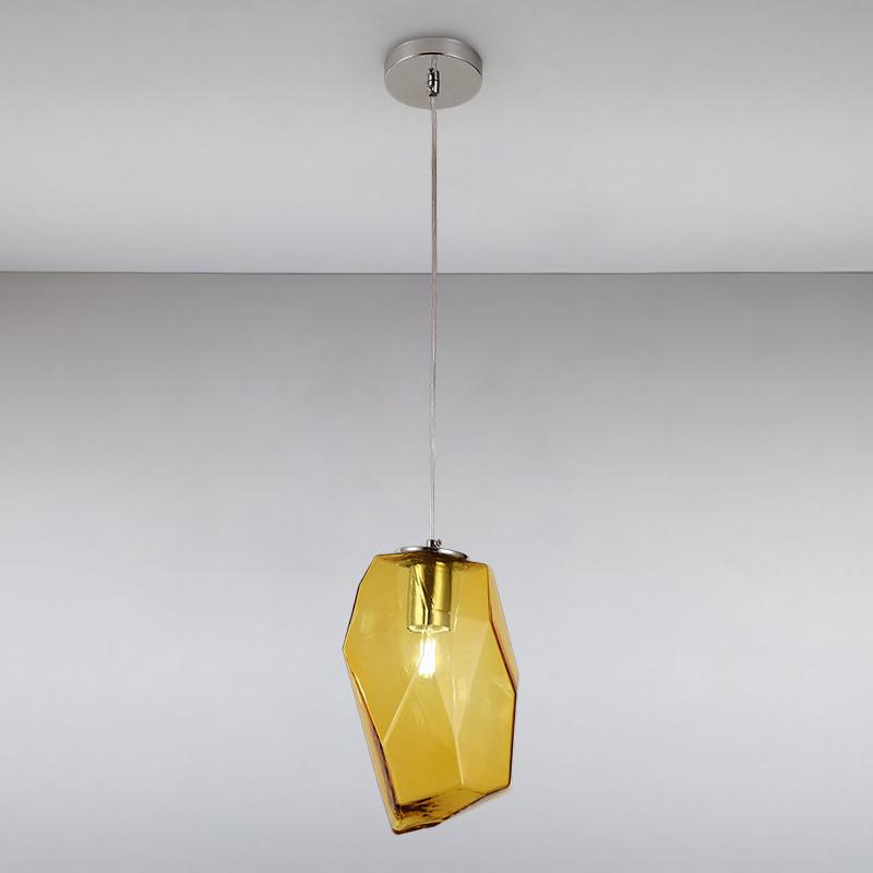 Люстра подвесная на одну лампу LS-814839-1 AMBER желтая