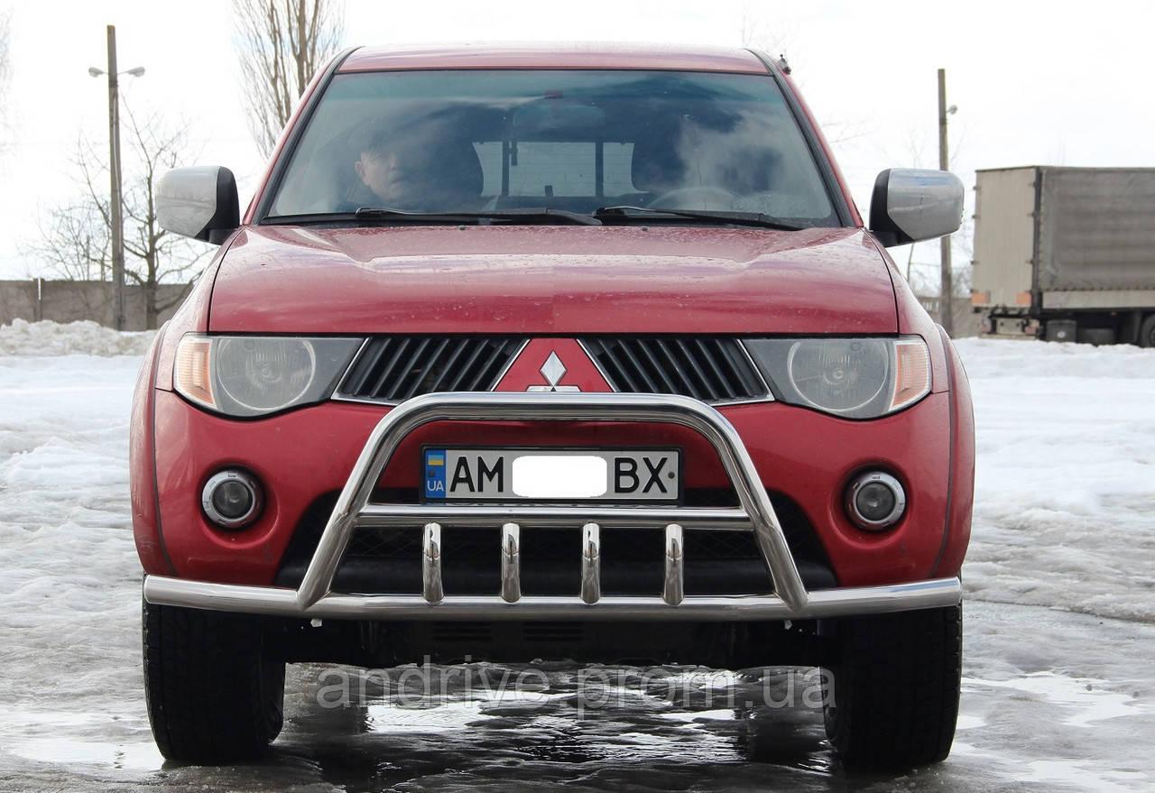 Кенгурятник с усом (защита переднего бампера) Mitsubishi L-200 2006-2015