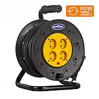 Удлинитель SVITTEX на катушке 25м  с сечением провода 2х1,5 мм² и термозащитой!