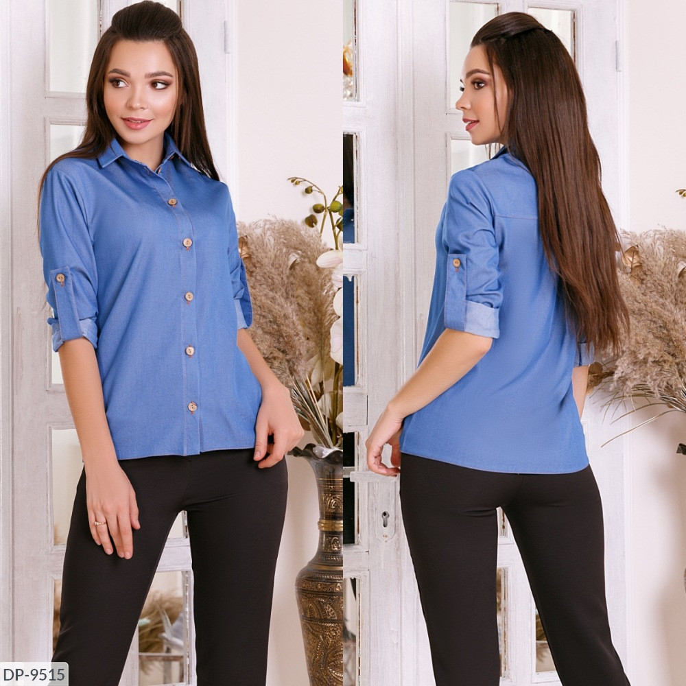Рубашка, рукав трансформер, светлый джинс, №205, 42-46р.