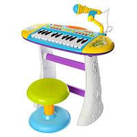 Детский синтезатор с микрофоном и стульчиком (Blue)