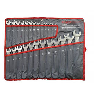 Набор ключей комбинированных 25 пр (6-27,28,30,32мм), на полотне