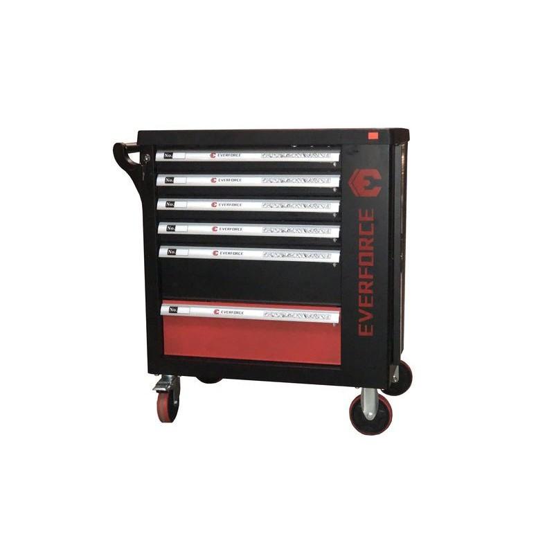 Тележка инструментальная  6-полочная с набором инструментов 154пр (черно-красная) и доп.секцией