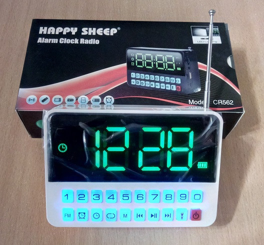 Часы сетевые CR-562,USB/SD/FM + фонарик