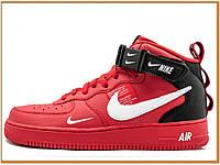 Мужские кроссовки Nike Air Force 1 Mid Utility University Red (найк аир форс 1 высокие, красные)