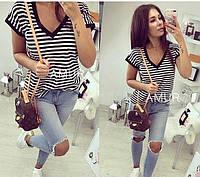 Блуза футболка женская в полоску 42621