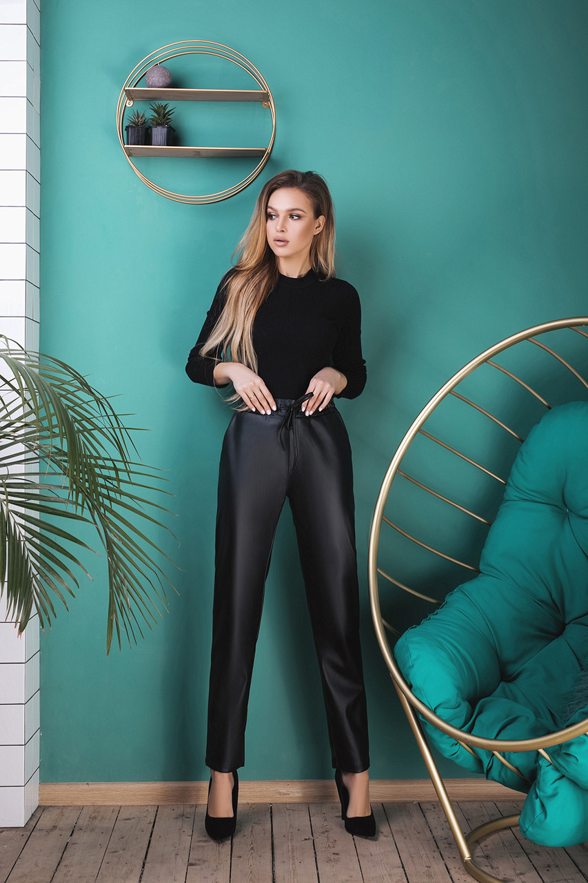 """Кожаные женские брюки """"Вайона"""" на резинке с карманами"""
