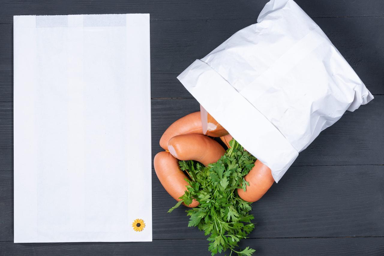 Пакет бумажный для колбасы 220*80*380 мм крафт пакет для еды