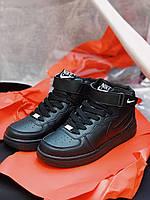 Кроссовки черные Nike Air Force High Black Найк Аир Форс Кросівки Найк Аір Форс Високі, фото 1
