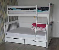 Двухъярусная трёхместная кровать Олимп белая