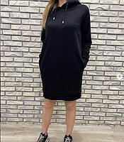 Платье - худи спортивное с капюшоном черное размер 46 48 50
