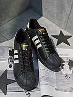 Кроссовки черные Adidas Superstar TOTAL Black Адідас Суперстар, фото 1