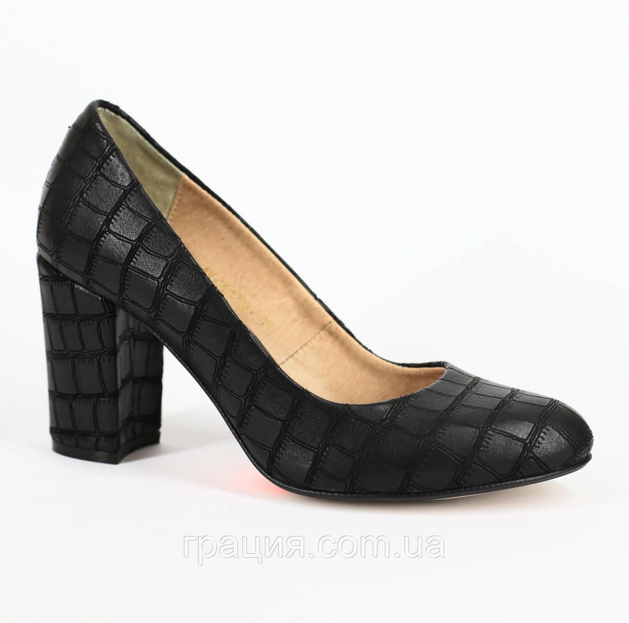 Женские кожаные туфли из натуральной кожи на каблуке