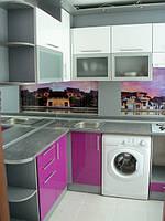 Кухня крашеная, глянец, белая, фиолетовая, скинали, фото 1