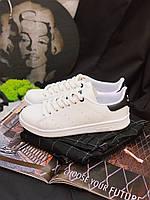 Кроссовки белые с черным задником Adidas Stan Smith Black Стен Сміт Чорні, фото 1