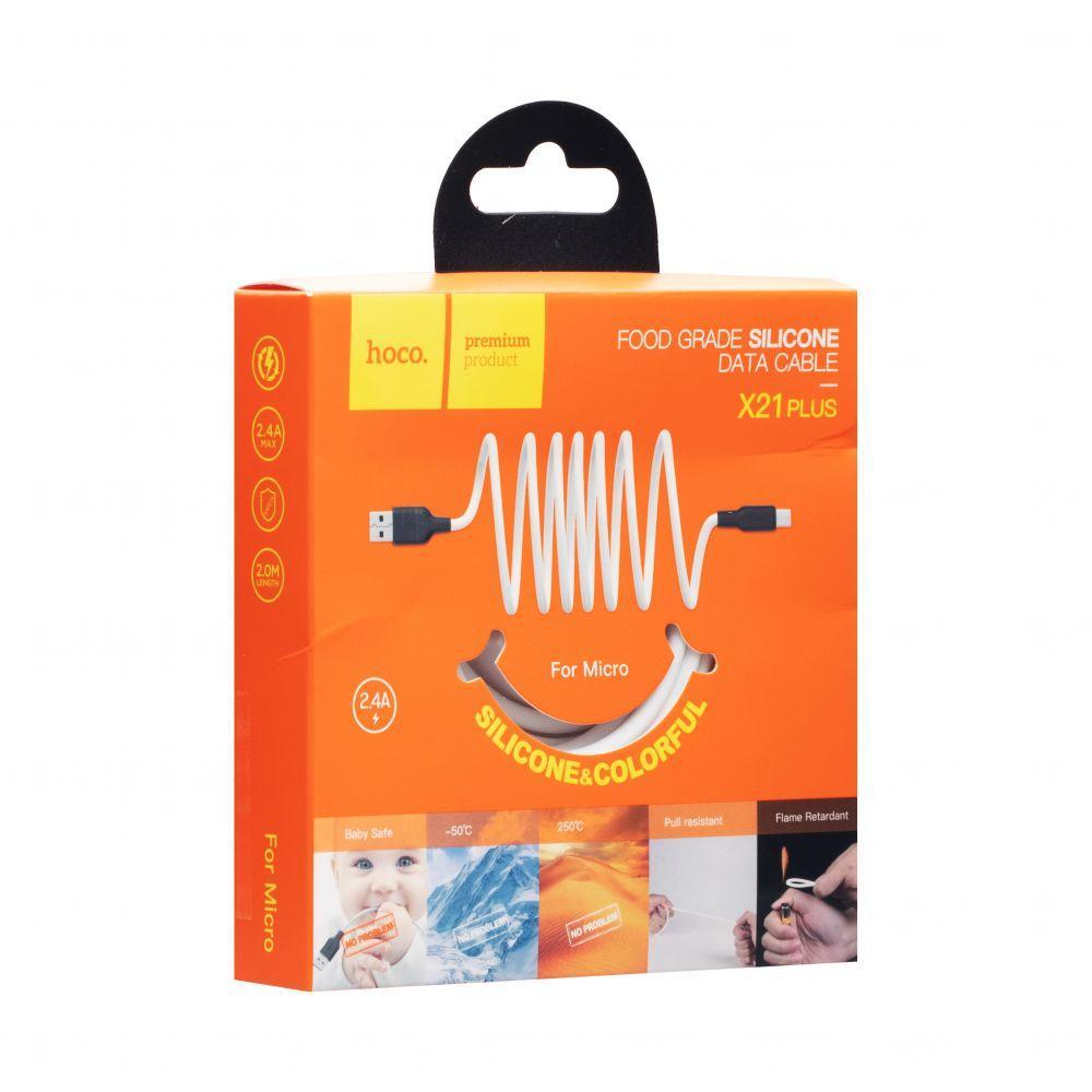 USB кабель Hoco X21 Plus Silicone Micro (1м, черно-белый)